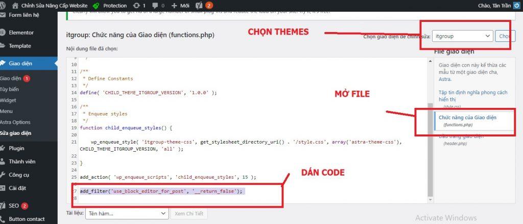 Chèn code vào file Function