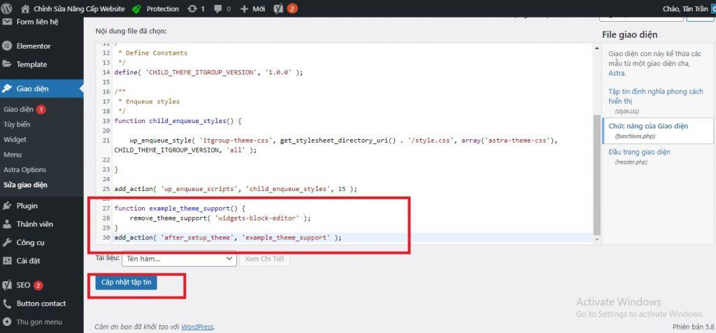 Chèn Code khôi phục Widget WP vào Website