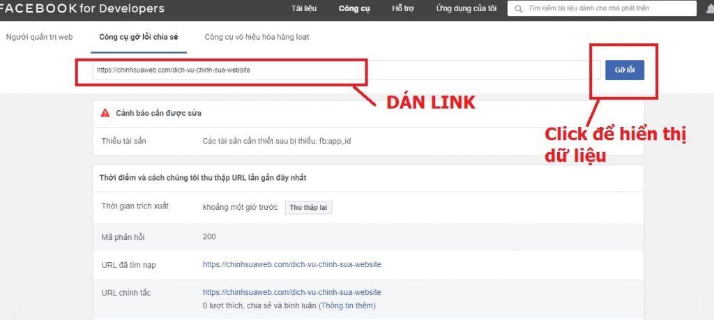Dán link thu thập lại dữ liệu share fb