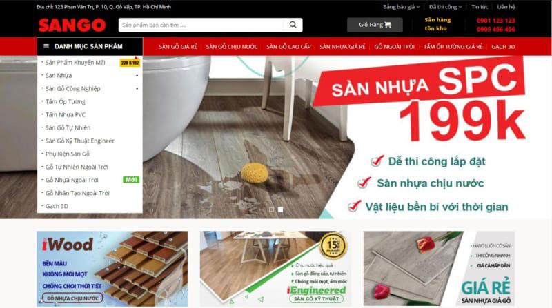 Theme Web Bán Sàn Gỗ, Sàn Nhựa - giống Mạnh Trí